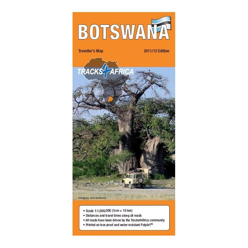 Tracks4Africa Traveller Paper Map of Botswana