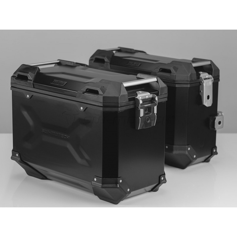 SW-MOTECH TRAX ADVENTURE Alucases 37L Left and 37L Right - BLACK, EVO Side Carrier. Adapter Kit. Lock Cylinder-Set.