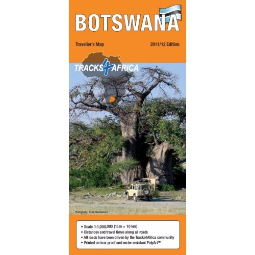 Tracks4Africa Traveller Paper Map of Botswana