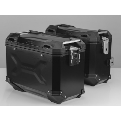 SW-MOTECH TRAX ADVENTURE Alucases 45L Right and 37L Left - BLACK, EVO Side Carrier, adapter kit and lock cylinder-set.