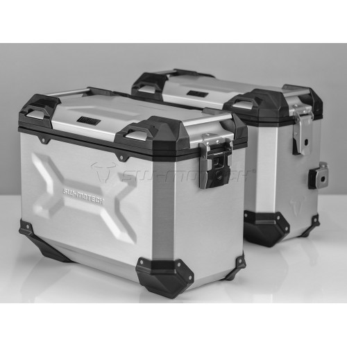 SW-MOTECH TRAX ADVENTURE Alucases 45L Right and 37L Left - SILVER, EVO Side Carrier, adapter kit and lock cylinder-set.